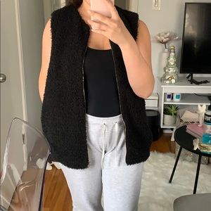 Aritzia Black faux sheep vest